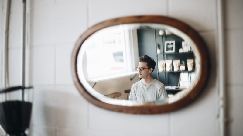 Reflection of Man in Mirror